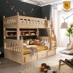 피터 수납형 핀란드 원목 이층 침대+견양면 매트리스 X2