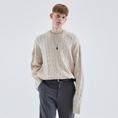 CREAMY CABLE KNIT SWEATER_IVORY