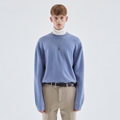 WOOL SOFT OVER KNIT_BLUE