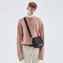 CREAMY CABLE KNIT SWEATER_PINK