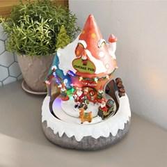 크리스마스 땅속요정 LED 오르골 (버섯집)