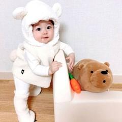 [유호랑]곰돌이조끼+곰발덧신set