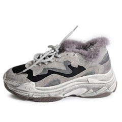 kami et muse Leather fur ugly sneakers_KM19w139