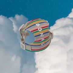 [이름 각인] Rainbow stripe harness (beige)