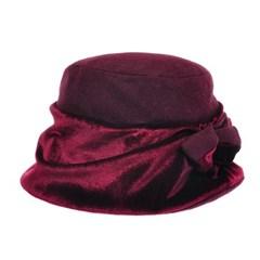 [더그레이]HTU11.벨벳배색 리본 중년 여성 벙거지 모자