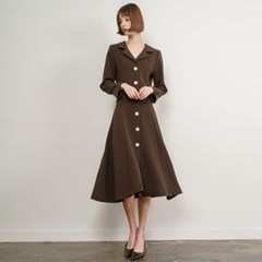 Paisley Pearl Button Dress_Brown_(35903)