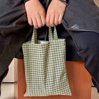 패턴 미니 에코백 - green check