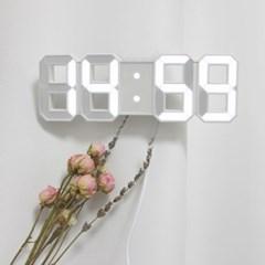 3D 무소음 LED 시계 화이트 알람 기능 밝기조절