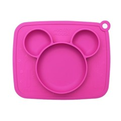 미키 흘림방지 실리콘식판 핑크9870