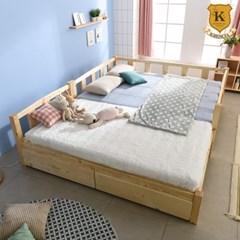 세이퍼 원목 서랍형 패밀리 침대 프레임  SS+Q (견양면매트)