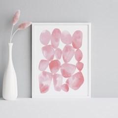 핑크페블 추상화 그림 아트포스터