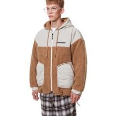 Heavy Fleece Hood Zip-up BROWN