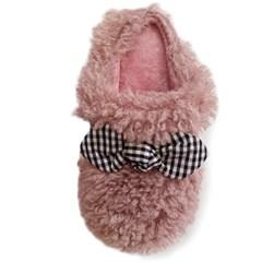 kami et muse Check ribbon platform fur slippers_KM19w144
