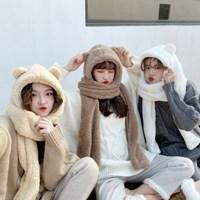 곰돌 겨울 뽀글이 모자 머플러 인싸템_(2281132)