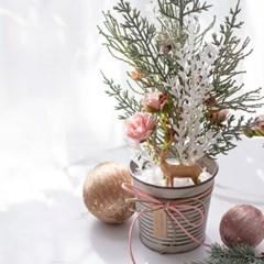 DIY 로즈 크리스마스 팟 트리 테이블트리 미니트리 실크_(1466682)