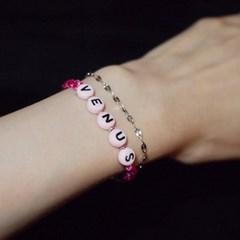 KNC. Pink 이니셜 실팔찌 핑크