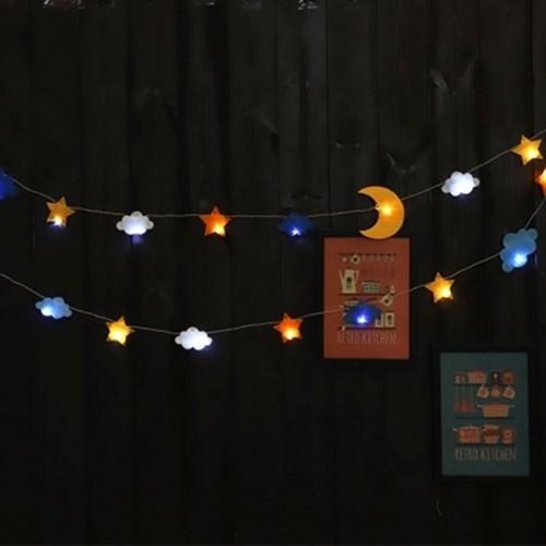 LED 펠트 구름 달 별 가랜드 (건전지형)_(301762674)