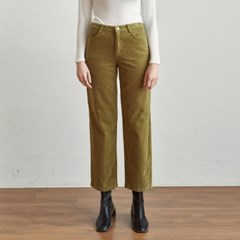 CORD SEMI WIDE PANTS_OLIVE