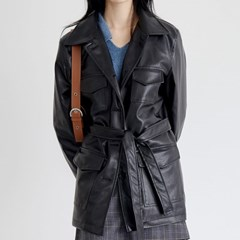 pocket glossy leather jacket (2colors)_(1388899)