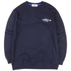 [COVERMENT] Slogan Logo Print Over-Fit Seatshirts_NAVY