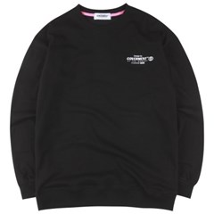 [COVERMENT] Slogan Logo Print Over-Fit Seatshirts_Black