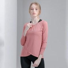 프론트 랩 커버 티셔츠 DFW-TL5031 로즈