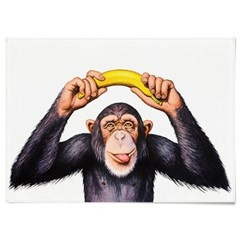 패브릭 포스터 F321 동물 그림 천 액자 침팬지 바나나 B