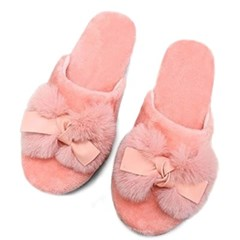 kami et muse Tied ribbon fur slippers_KM19w155