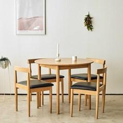 브리제 원목 원형 4인 식탁세트
