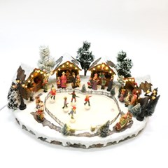 크리스마스오르골 장식 스케이트타는아이들