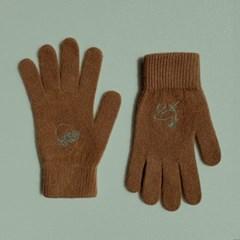 십장생 자수 장갑(wool) - brown