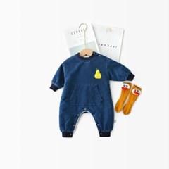돌핀웨일 옐로페어 데님털안감우주복(66~90cm)