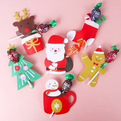 [인디고샵] 산타와 친구들 막대사탕 데코페이퍼 6개 (1set)