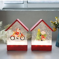 크리스마스 레드 하우스 LED 워터볼 오르골 (3TYPE)