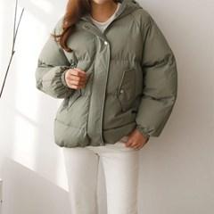 여성 겨울 밑단스트링 포켓 후드 따뜻한 웰론 패딩