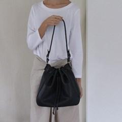 Oversized Pleat Bucket Bag _ bk