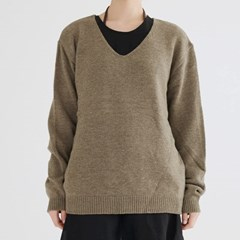 simple v neck knit (khaki)_(1391374)