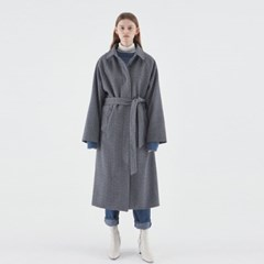 HERRINGBONE WOOL LONG COAT_GRAY
