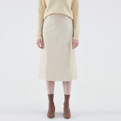 CREAMY LEATHER SKIRT_IVORY