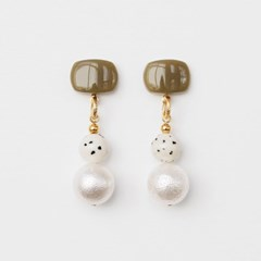 brown mix ball earrings