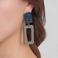 [더 제이에스] 루시다 호마이카 스퀘어 귀걸이 블루그레이