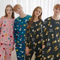 미키마우스 & 스누피 디즈니 남녀 피치기모 커플잠옷
