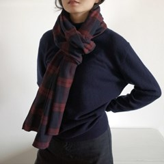 Easy Plaid Muffler (WINE)