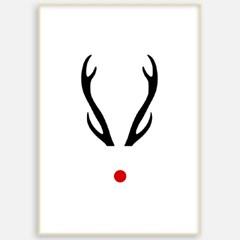 패브릭 캔버스 크리스마스 거실 그림 인테리어 액자 사슴뿔