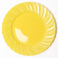 칼라 파티접시 라운드 23cm-옐로우(6입)