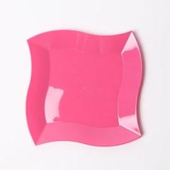 칼라 파티접시 웨이브 19cm -핫핑크(6입)