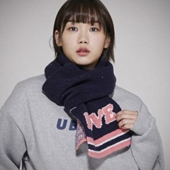 ML061_Cozy LOVE  Knit muffler_Navy