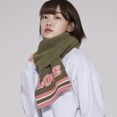 ML060_Cozy LOVE  Knit muffler_Khaki