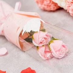 장미꽃 세송이 꽃다발 [핑크]_(11893917)