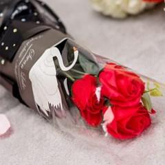 장미꽃 세송이 꽃다발 [레드]_(11893916)